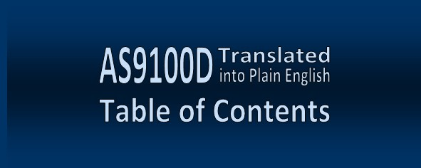 AS9100D in Plain               English Table of Contents